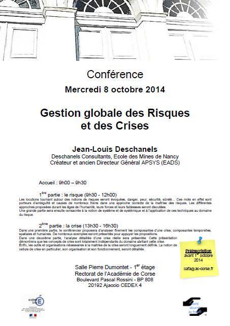 Conférence Gestion Globale des Risques et des Crises - 8 octobre 2014